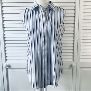 PHILOSOPHY White Striped Blouse Size Small